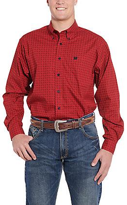 Cinch Men's Red Medallion Print Long Sleeve Western Shirt