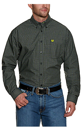 Cinch Men's Black with Lime and White Plaid Long Sleeve Western Shirt