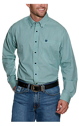 Cinch Men's Light Mint and Navy Stripes Long Sleeve Stretch Western Shirt