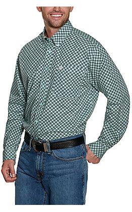 Cinch Men's Mint with Navy Geo Print Long Sleeve Western Shirt