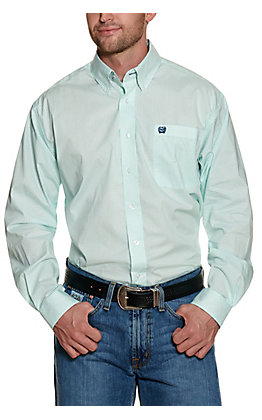 Cinch Men's Mint with Navy and White Grid Print Long Sleeve Stretch Western Shirt