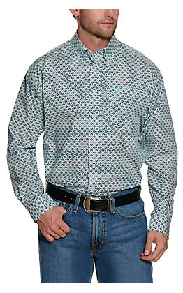 Cinch Mens Grey with Turquoise and Navy Geo Print Long Sleeve Western Shirt