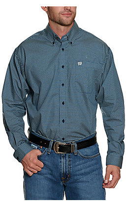 Cinch Men's Navy and White Mountain Print Long Sleeve Western Shirt