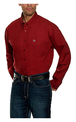 Cinch Men's Burgundy Solid Long Sleeve Western Shirt