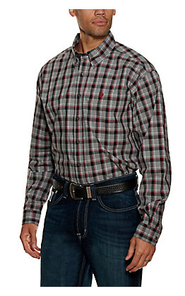 Cinch Men's Grey and Black Plaid Long Sleeve Western Shirt