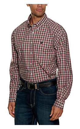 Cinch Men's Red and Black Plaid Long Sleeve Western Shirt