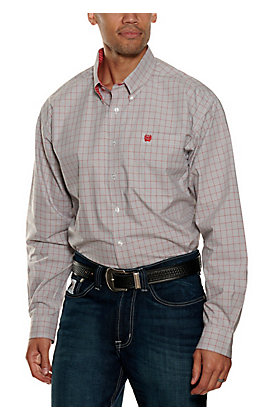 Cinch Men's Grey and Red Long Sleeve Western Shirt