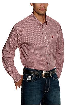 Cinch Men's Burgundy and Gray Geo Print Long Sleeve Western Shirt