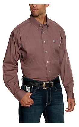 Cinch Men's Burgundy and Grey Geo Print Long Sleeve Western Shirt