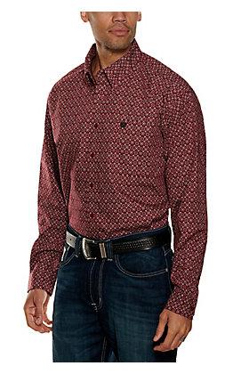 Cinch Men's Burgundy and Black Geo Print Long Sleeve Western Shirt