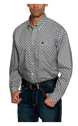 Cinch Men's Black and White Medallion Print Long Sleeve Western Shirt