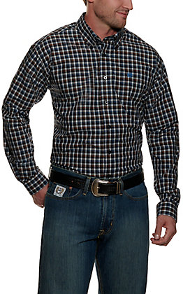 Cinch Men's Navy with White and Brown Plaid Long Sleeve Western Shirt