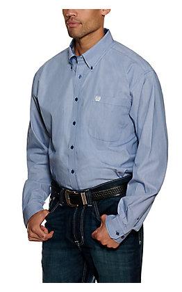 Cinch Blue and White Stripe Long Sleeve Western Shirt