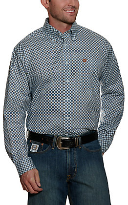 Cinch Men's Light Blue with White and Brown Medallion Print Long Sleeve Stretch Western Shirt