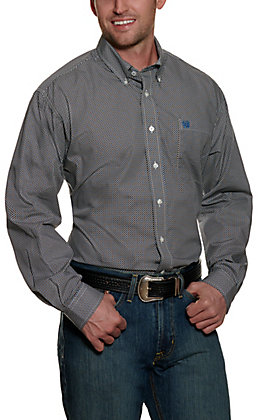 Cinch Men's White with Navy and Brown Micro Geo Print Long Sleeve Western Shirt