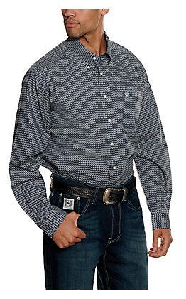 Cinch Men's Blue and Black Geo Print Long Sleeve Western Shirt