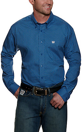 Cinch Men's Blue with White Diamond Print Long Sleeve Stretch Western Shirt