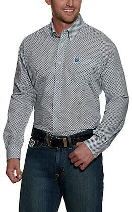 Cinch Men's Light Blue with Blue Diamond Print Long Sleeve Western Shirt