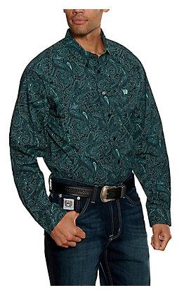 Cinch Men's Black and Teal Paisley Long Sleeve Western Shirt