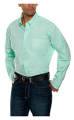 Cinch Men's Mint and White Geo Print Long Sleeve Western Shirt
