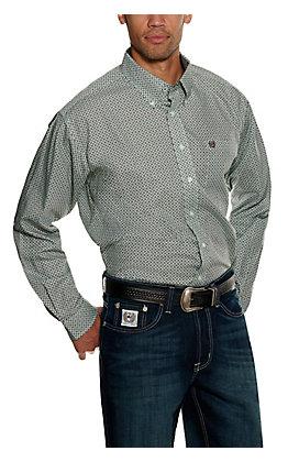 Cinch Men's Chocolate Mint Geo Print Long Sleeve Western Shirt