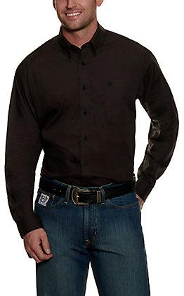Cinch Men's Black with Brown Geo Print Long Sleeve Western Shirt