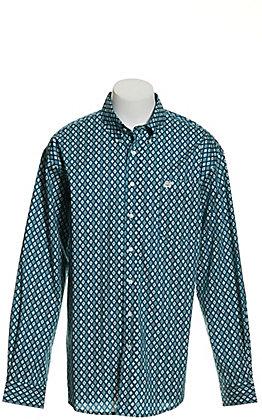 Cinch Men's Teal Green Aztec Print Long Sleeve Western Shirt - Cavender's Exclusive