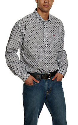 Cinch Men's White Geo Print Long Sleeve Western Shirt
