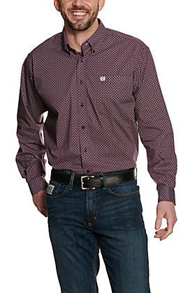 Cinch Men's Purple Geo Print Long Sleeve Western Shirt