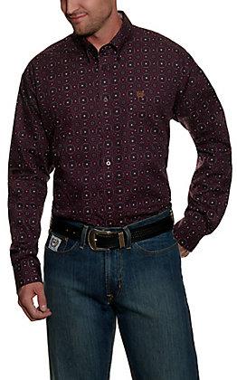 Cinch Men's Burgundy with Tan & Black Medallion Print Long Sleeve Western Shirt