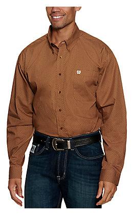 Cinch Men's Brown Geo Print Long Sleeve Western Shirt
