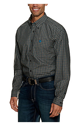 Cinch Men's Black and Teal Plaid Long Sleeve Western Shirt
