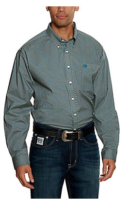 Cinch Men's Teal Diamond Print Stretch Long Sleeve Western Shirt