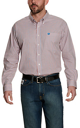 Cinch Men's White with Orange and Blue Check Stretch Long Sleeve Western Shirt