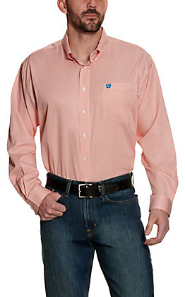 Cinch Men's Coral Stripe Tencel Long Sleeve Western Shirt