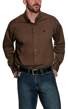 Cinch Men's Brown and Black Geo Print Stretch Long Sleeve Western Shirt