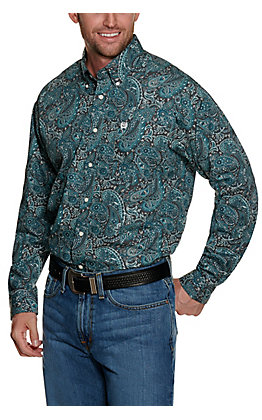 Cinch Men's Charcoal Grey with Blue Paisley Print Long Sleeve Western Shirt