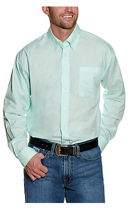 Cinch Men's Mint with White Paisley Print Long Sleeve Western Shirt
