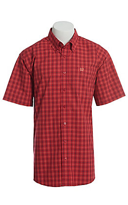 Cinch Men's Red Plaid Windowpane Short Sleeve Button Down Western Shirt