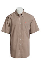 Cinch Men's Khaki With Maroon Round Geo Print Short Sleeve Button Down Western Shirt