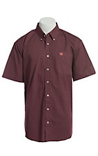 Cinch Men's Maroon Geo Oval Print Short Sleeve Button Down Western Shirt