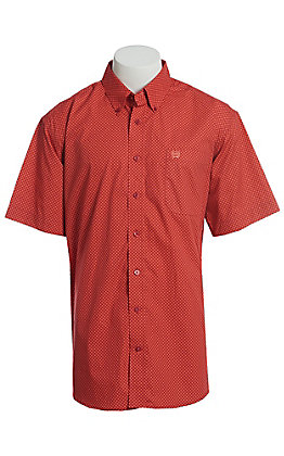 Cinch Men's Red All Over Coral Diamond Geo Print Short Sleeve Button Down Western Shirt