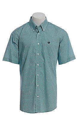 Cinch Men's Aqua And Black Geo Print Short Sleeve Button Down Western Shirt
