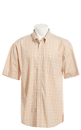 Cinch Men's Khaki Plaid Short Sleeve Button Down Western Shirt
