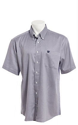 Cinch Men's White With Navy Geo Print Short Sleeve Button Down Western Shirt