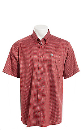 Cinch Men's Red And White Geo Print Short Sleeve Button Down Western Shirt