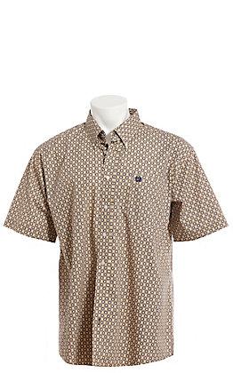 Cinch Men's Khaki Geo Print Short Sleeve Button Down Western Shirt