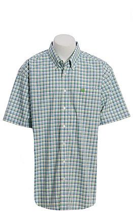 Cinch Men's Blue & Lime Green Plaid Short Sleeve Western Shirt