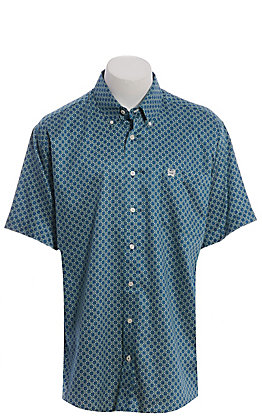 Cinch Men's Teal & Lime Geo Print Short Sleeve Western Shirt