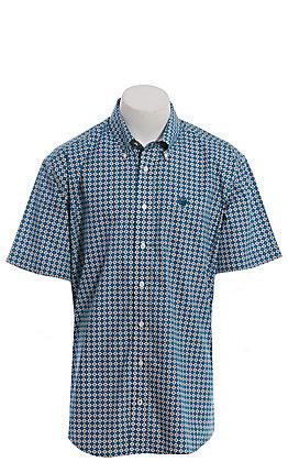 Cinch Men's Teal & White Geo Print Short Sleeve Western Shirt